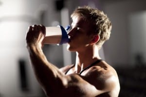 man blond drinking protein shake