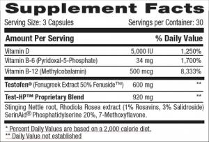 Betancourt Test HP Supplement Facts